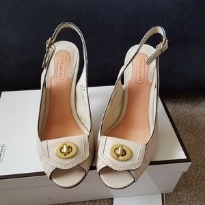Coach Dori peep toe ivory high heel sandal ivory 6